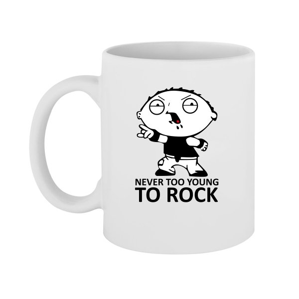 Чашка Never too young to rock