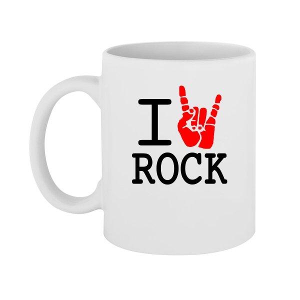 Чашка с надписью люблю Rock