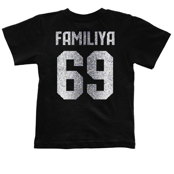 Детская футболка Фамилия с Номером (глиттер)