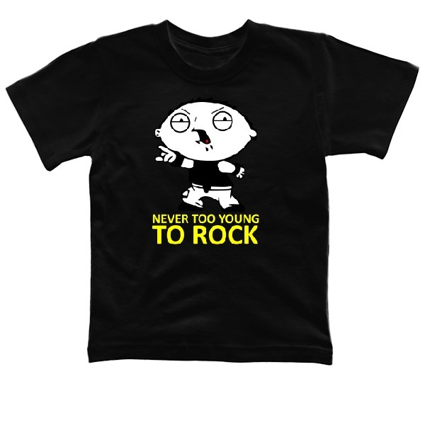 Детская футболка Never too young to rock