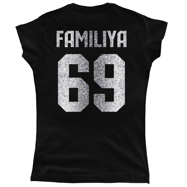 Женская футболка Фамилия с Номером (глиттер)