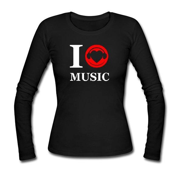Женский лонгслив Я люблю Музыку