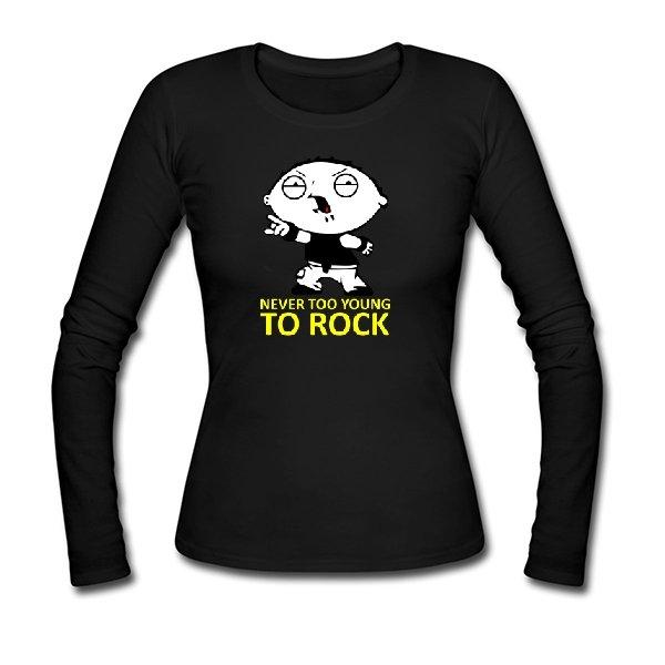 Женский лонгслив Never too young to rock
