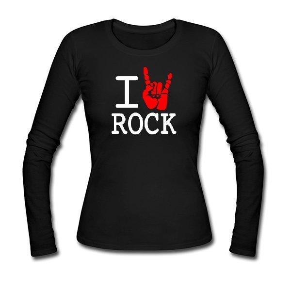Женский лонгслив с надписью люблю Rock