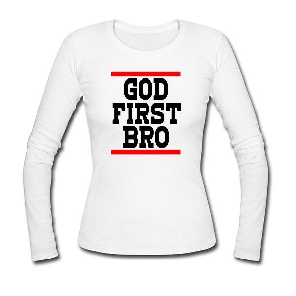 Женский лонгслив Сначала Бог