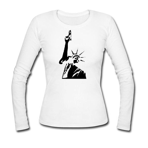 Женский лонгслив Статуя Свободы с Пистолетом