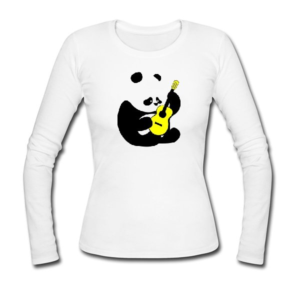Женский лонгслив Панда с Гитарой