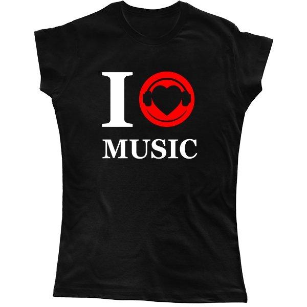 Женская футболка Я люблю Музыку