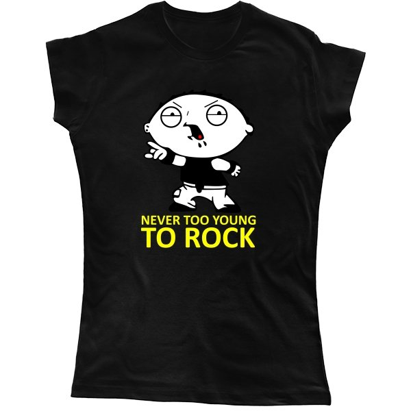 Женская футболка Never too young to rock