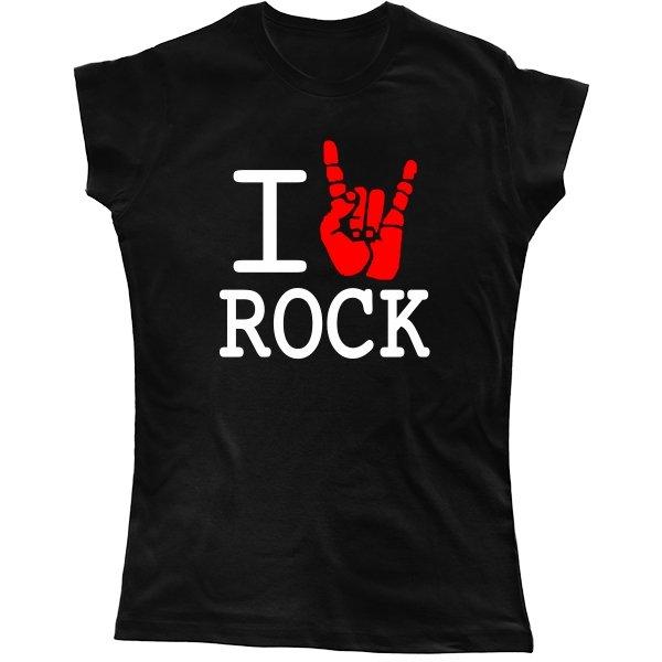 Женская футболка с надписью люблю Rock