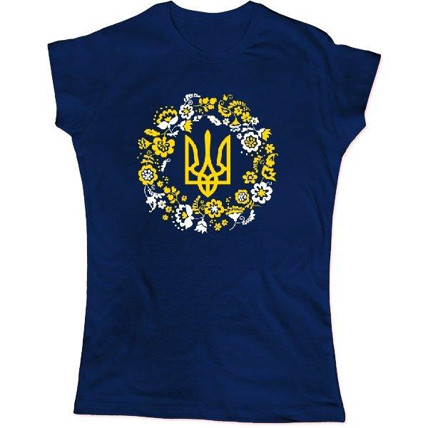 Женская футболка с трезубцем в орнаменте