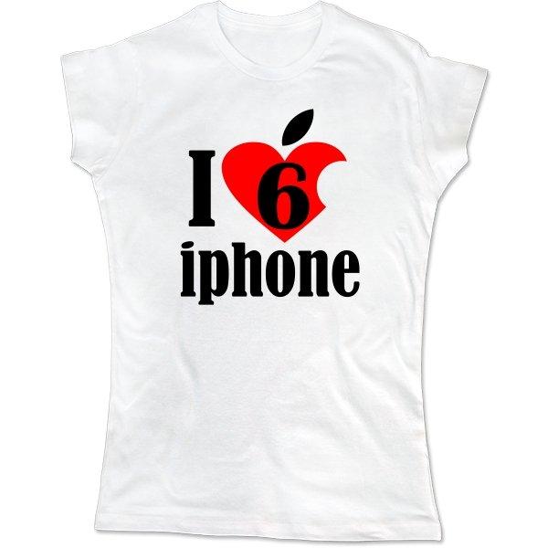 Женская футболка Люблю 6 Айфон