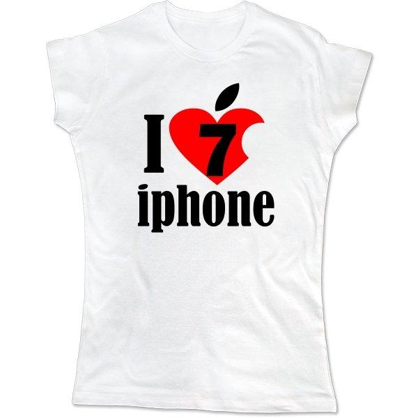 Женская футболка Люблю 7 Айфон
