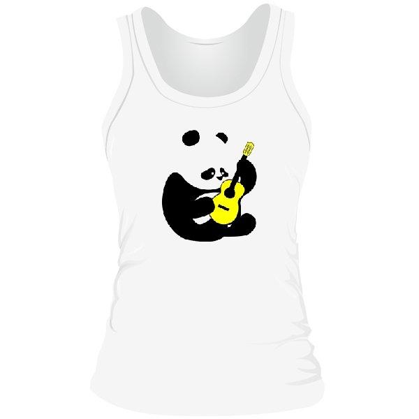 Женская майка Панда с Гитарой