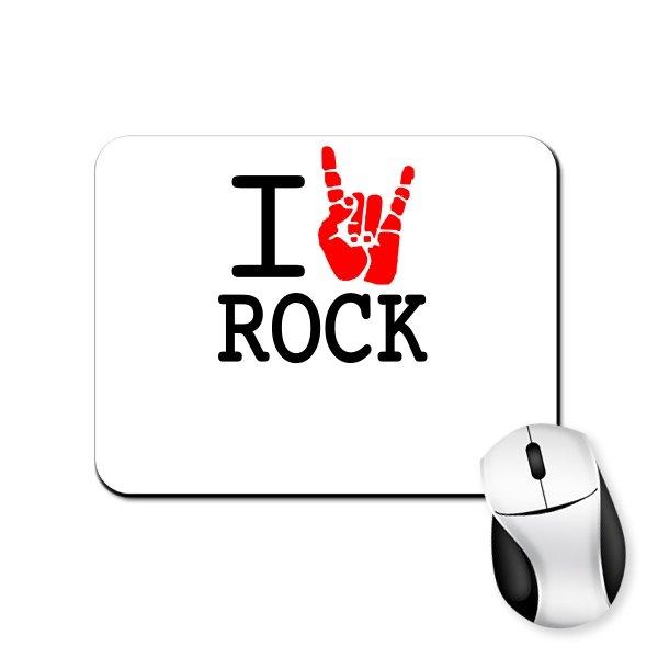 Коврик для мыши с надписью люблю Rock