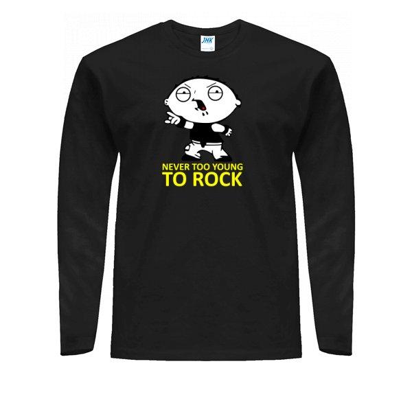 Мужской лонгслив Never too young to rock