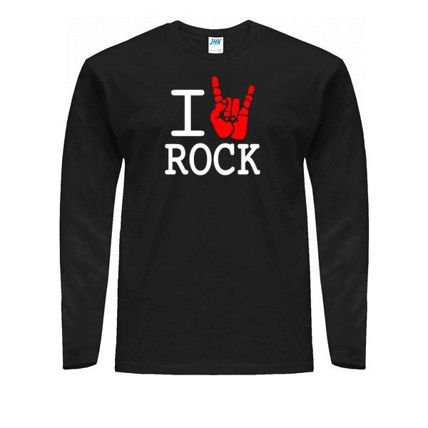 Мужской лонгслив с надписью люблю Rock
