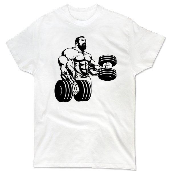 Мужская футболка Работа с гантелями