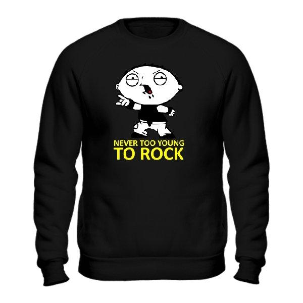 Мужской свитшот Never too young to rock