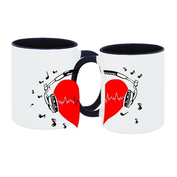 Парные чашки Сердце в Наушниках