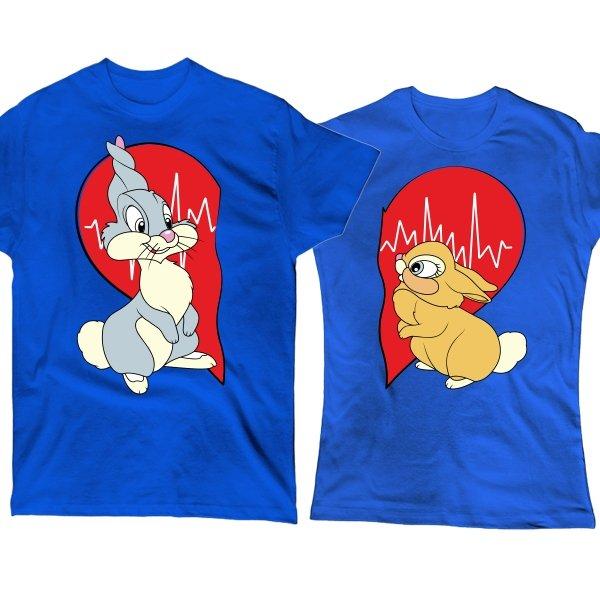 Парные футболки Влюбленные Зайцы