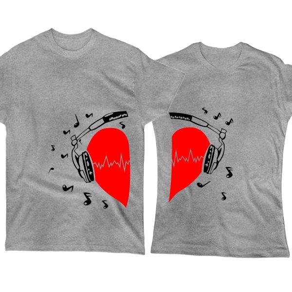 Парные футболки Сердце в Наушниках