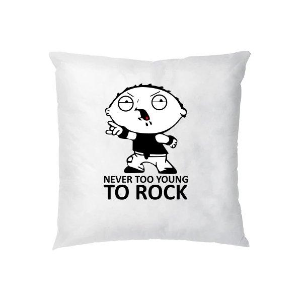 Подушка Never too young to rock